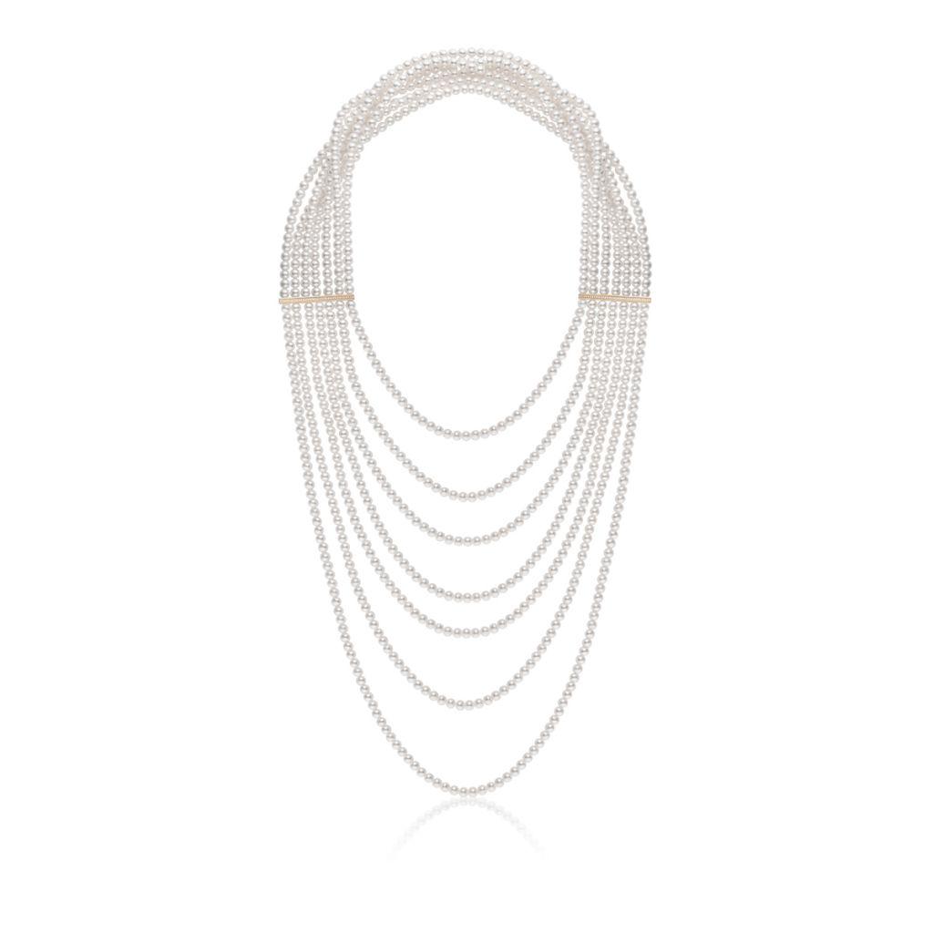 Wyjątkowy z Pereł Naszyjnik - złoto 585, Brylant 0,36ct,perła