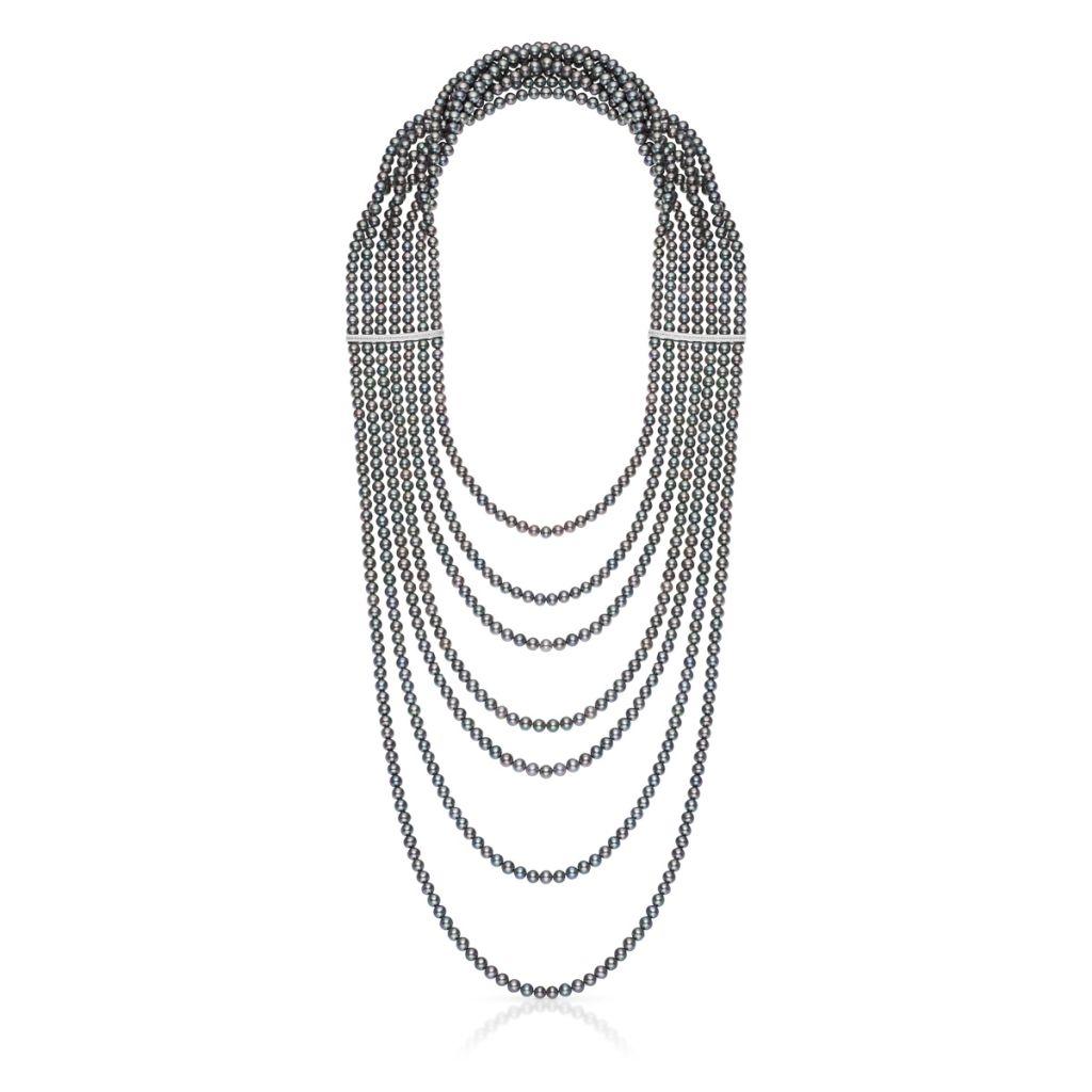 Wyjątkowy Naszyjnik z Pereł - złoto 585, Brylant 0,36ct                                 ,                      perła