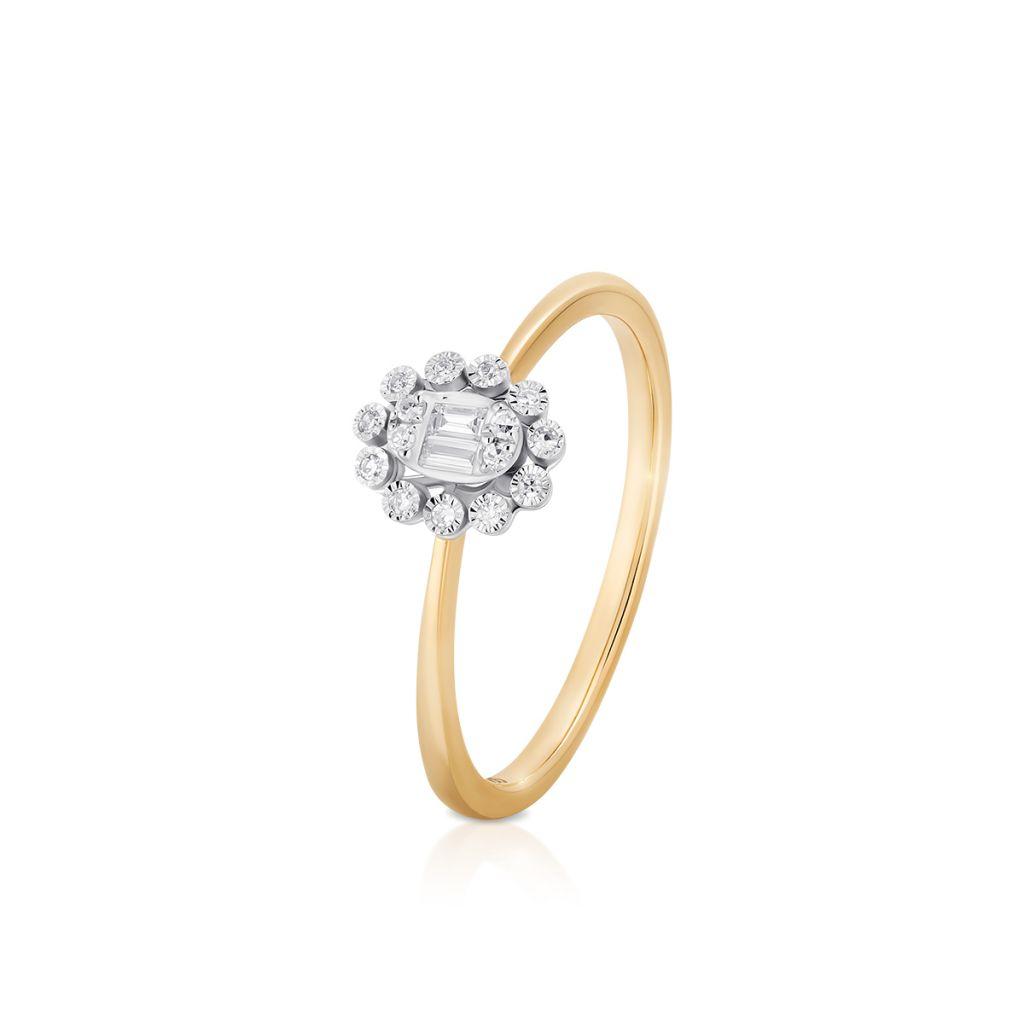 W.KRUK Unikalny Złoty Pierścionek – złoto 585, Diament 0,08ct – ZPA/PB+459K