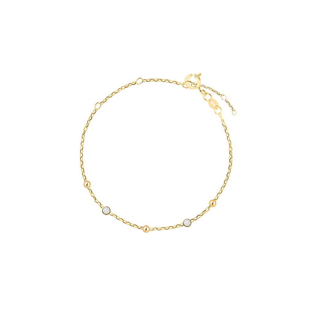 W.KRUK Piękna Bransoletka Złota – złoto 375, Cyrkonia – ZES/AC16