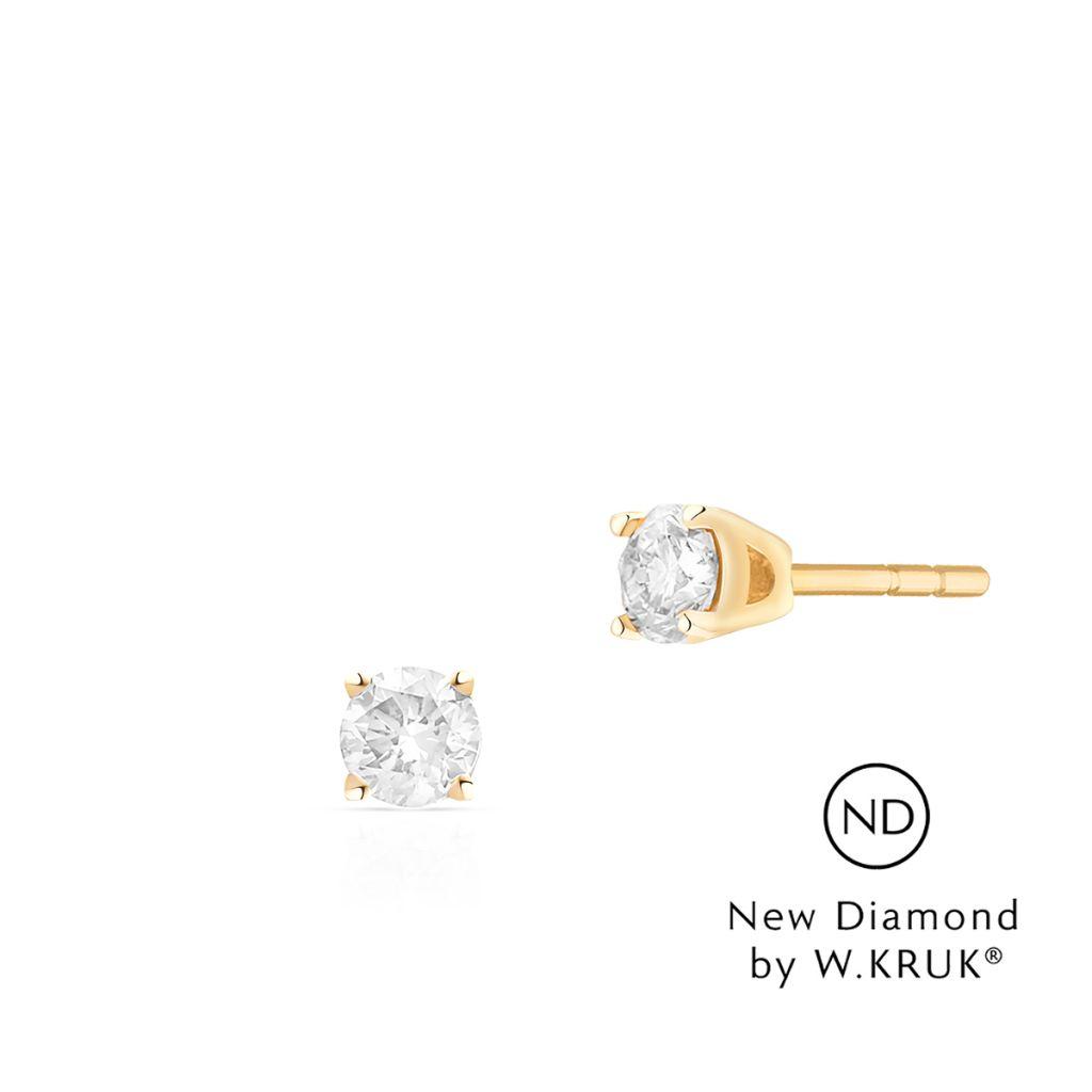 W.KRUK Złote Kolczyki – złoto 585, New diamond by w.kruk 0,80ct – XWK/KB-05