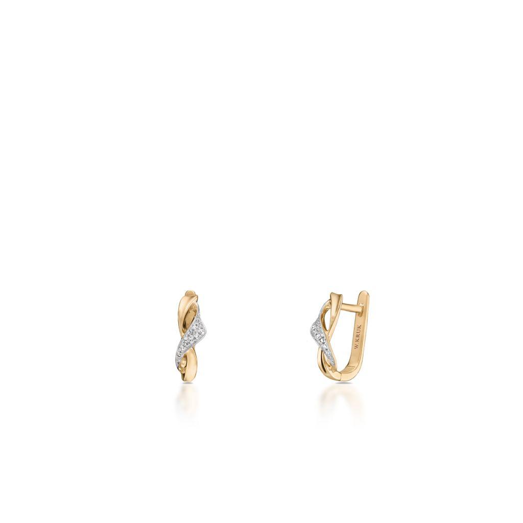W.KRUK Zjawiskowe Kolczyki Złote – złoto 585, Diament 0,06ct – ZFX/KB+12BK