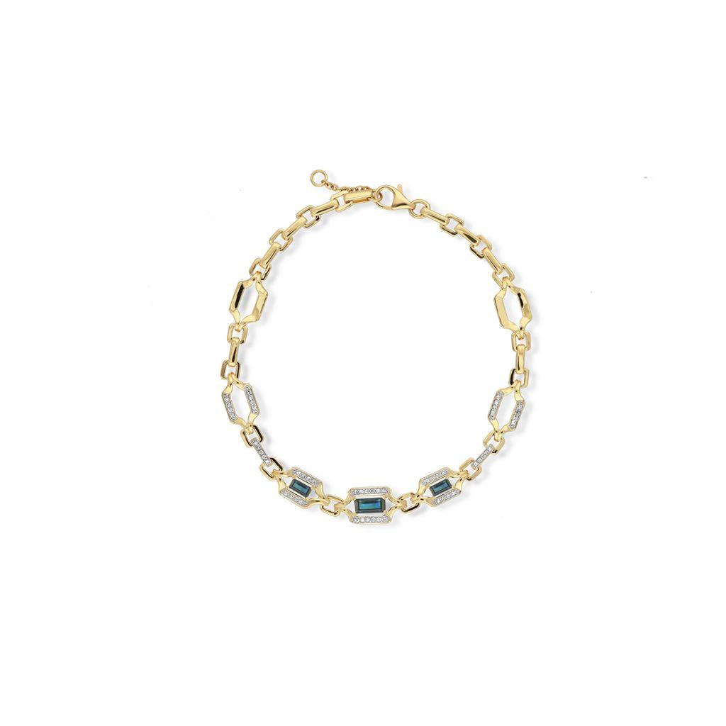 W.KRUK Wyjątkowa Bransoletka Złota – złoto 585, Diament 0,17ct,szafir – ZIN/AB+256
