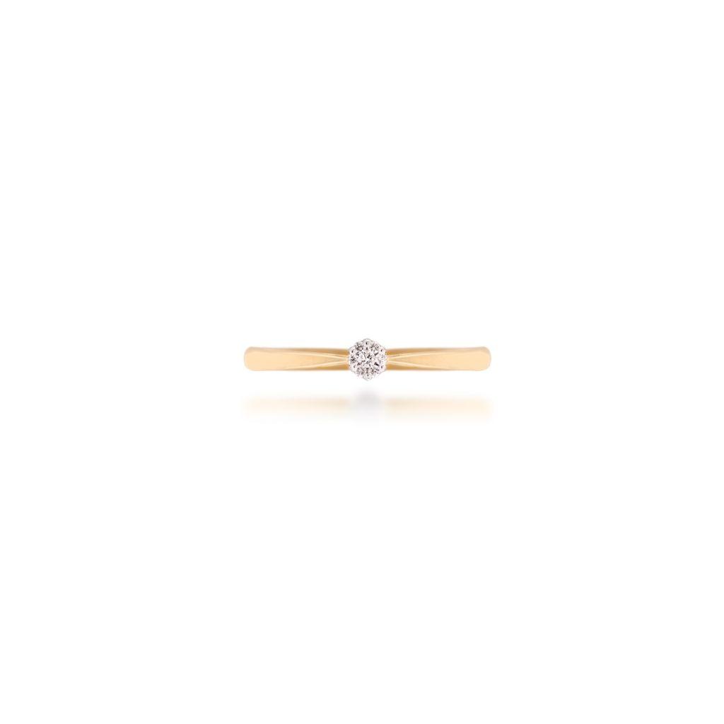 W.KRUK Unikalny Złoty Pierścionek – złoto 585, Brylant 0,04ct – ZFX/PB+07BK
