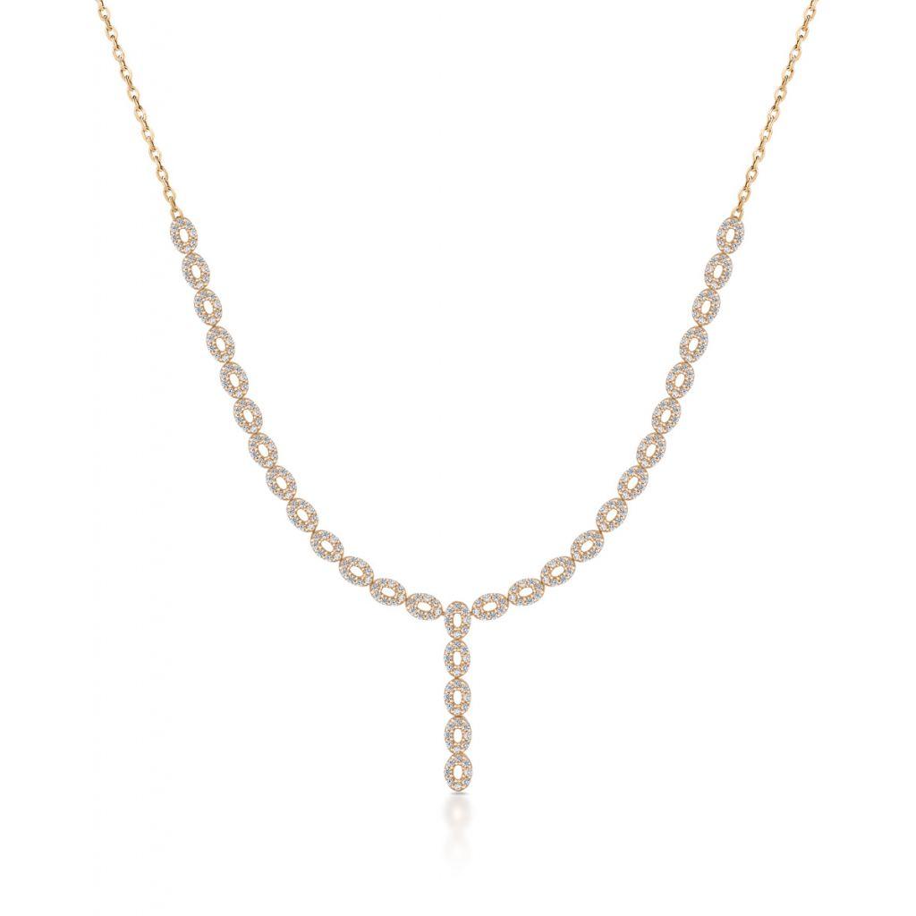Naszyjnik - złoto 585, Cyrkonia