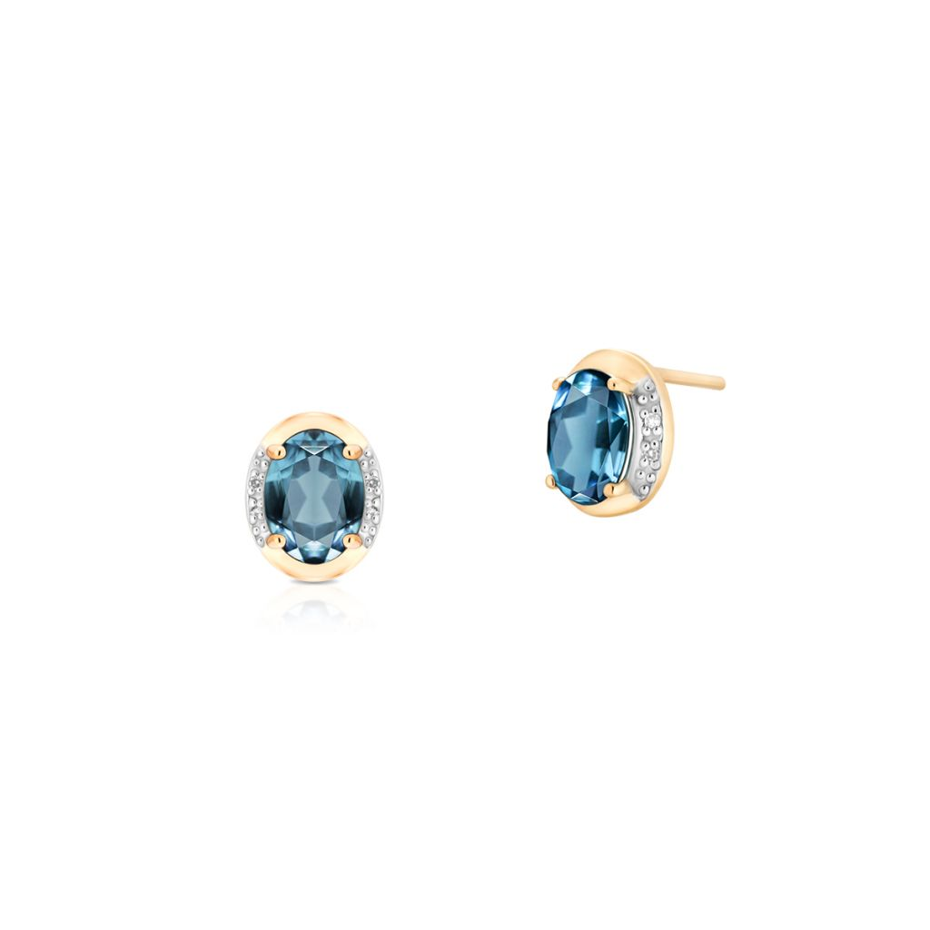 W.KRUK Unikalne Kolczyki Złote – złoto 585, Diament 0,02ct,topaz london blue – ZHH/KB+10