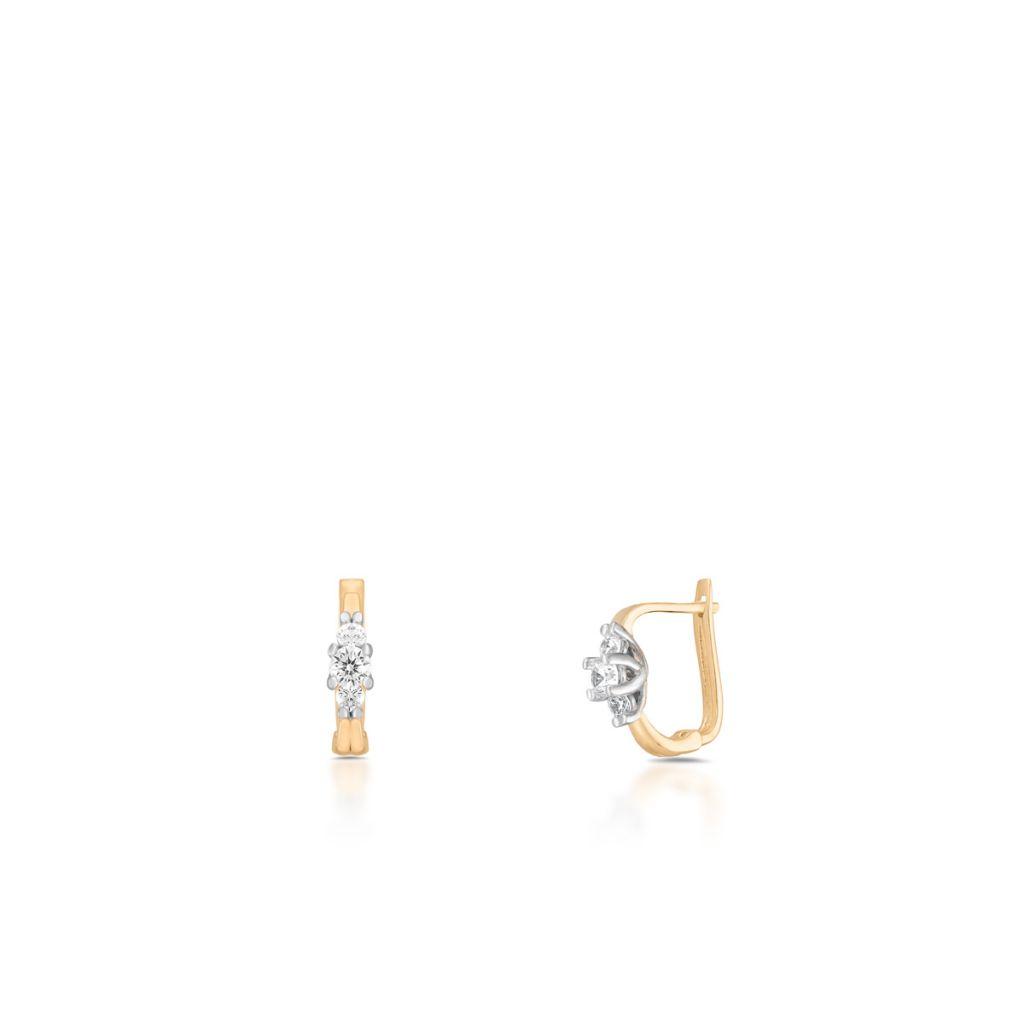 W.KRUK Piękne Kolczyki Złote – złoto 585, Cyrkonia – ZNN/KC130BK