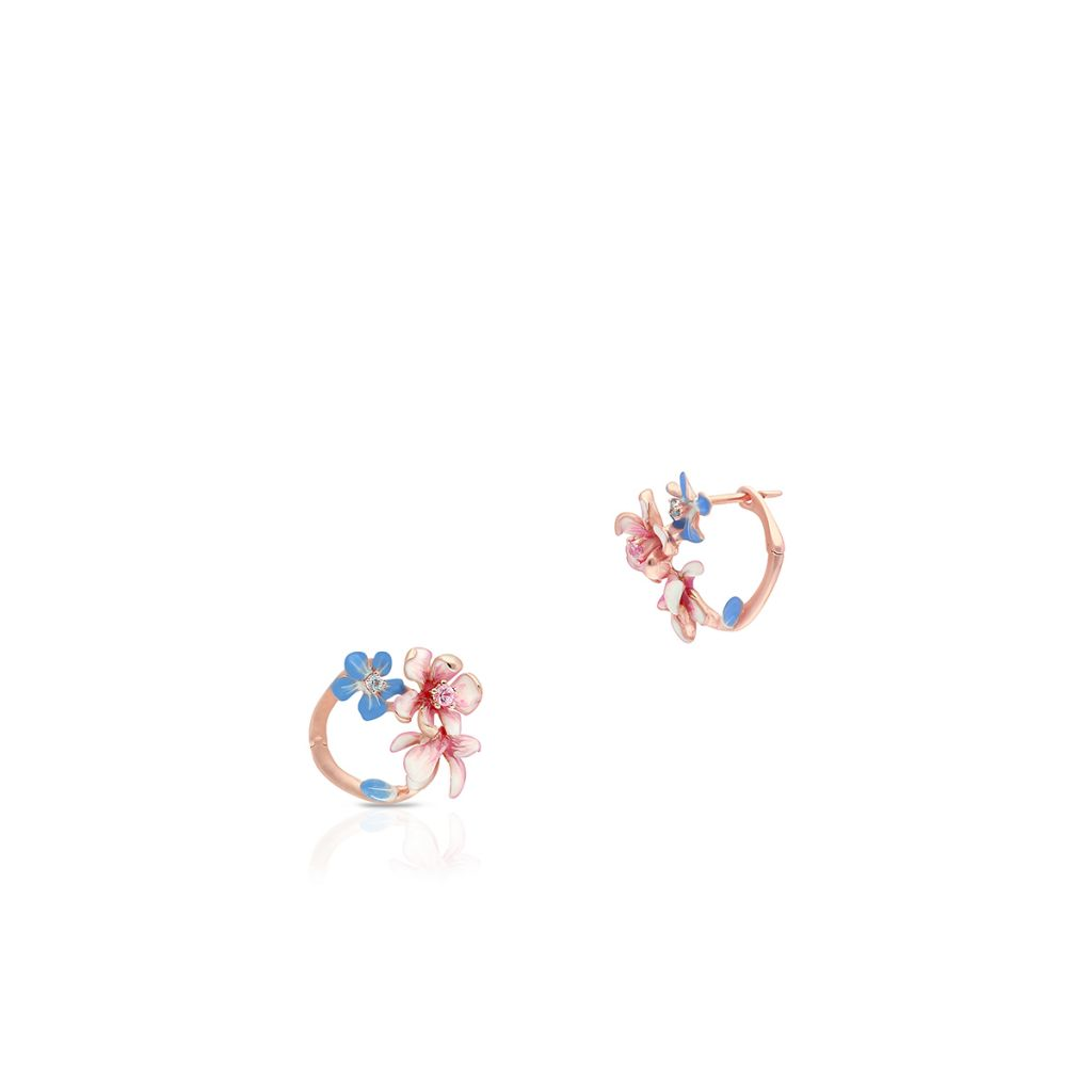 W.KRUK Złote Kolczyki – złoto 375, Topaz swiss blue,różowy szafir – ZDL/KW32R