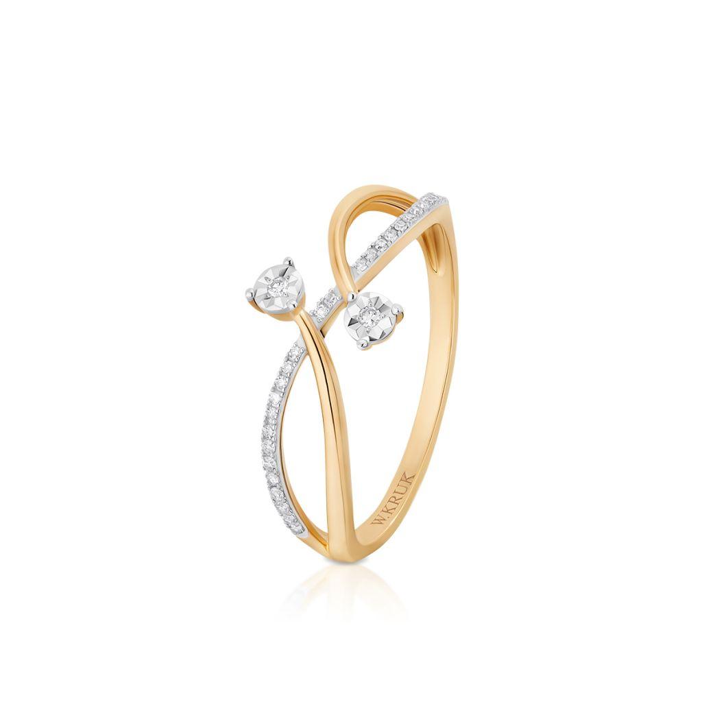 W.KRUK Zjawiskowy Złoty Pierścionek – złoto 585, Diament 0,08ct – ZUF/PB+09BK