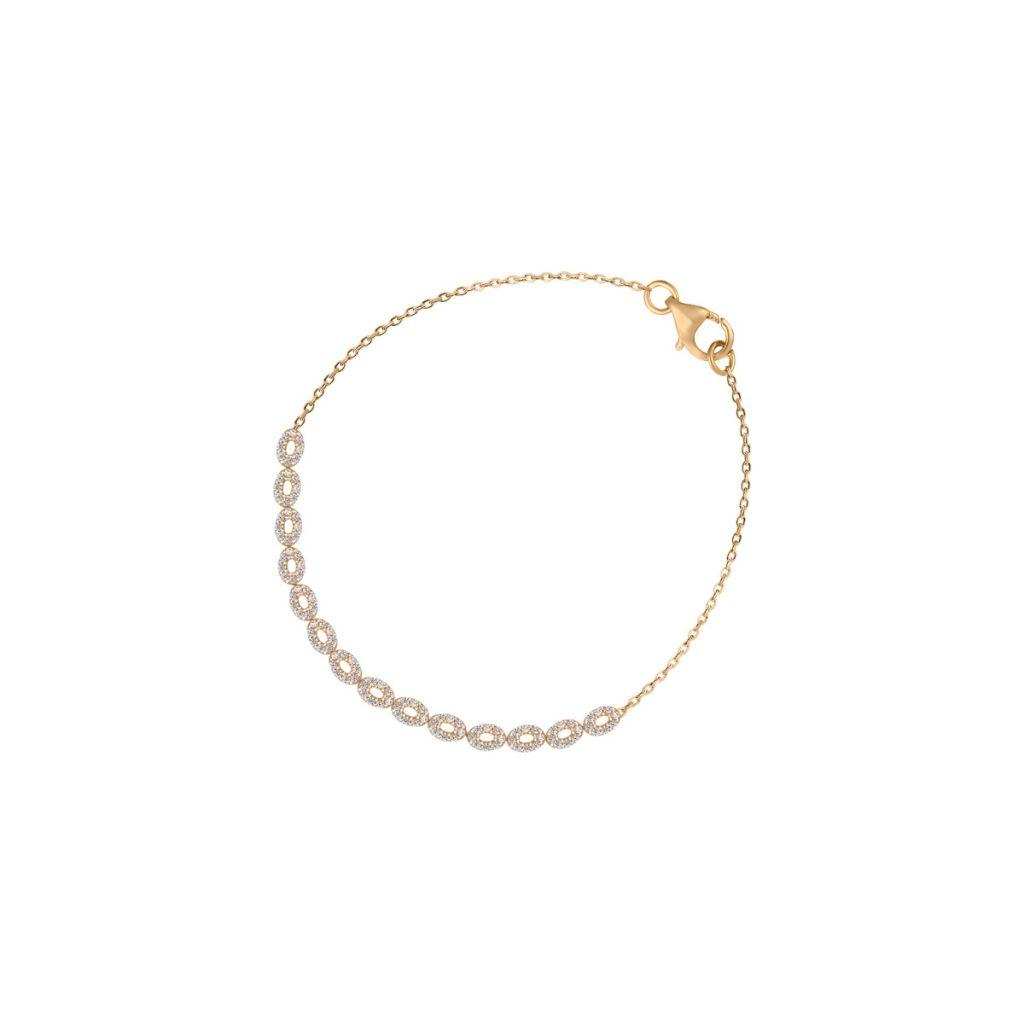 W.KRUK Wyjątkowa Złota Bransoletka – złoto 585, Cyrkonia – ZBW/AC98