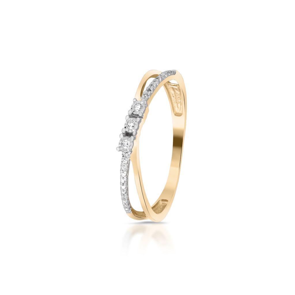 W.KRUK Wspaniały Złoty Pierścionek – złoto 585, Diament 0,06ct – ZPA/PB+427K