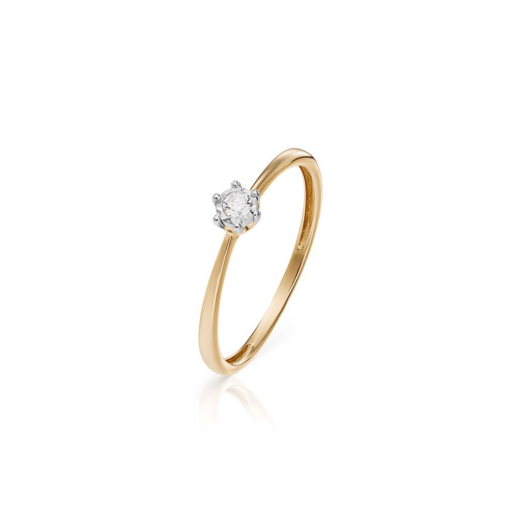 W.KRUK Piękny Pierścionek Złoty – złoto 585, Brylant 0,04ct – ZCG/P+1017K