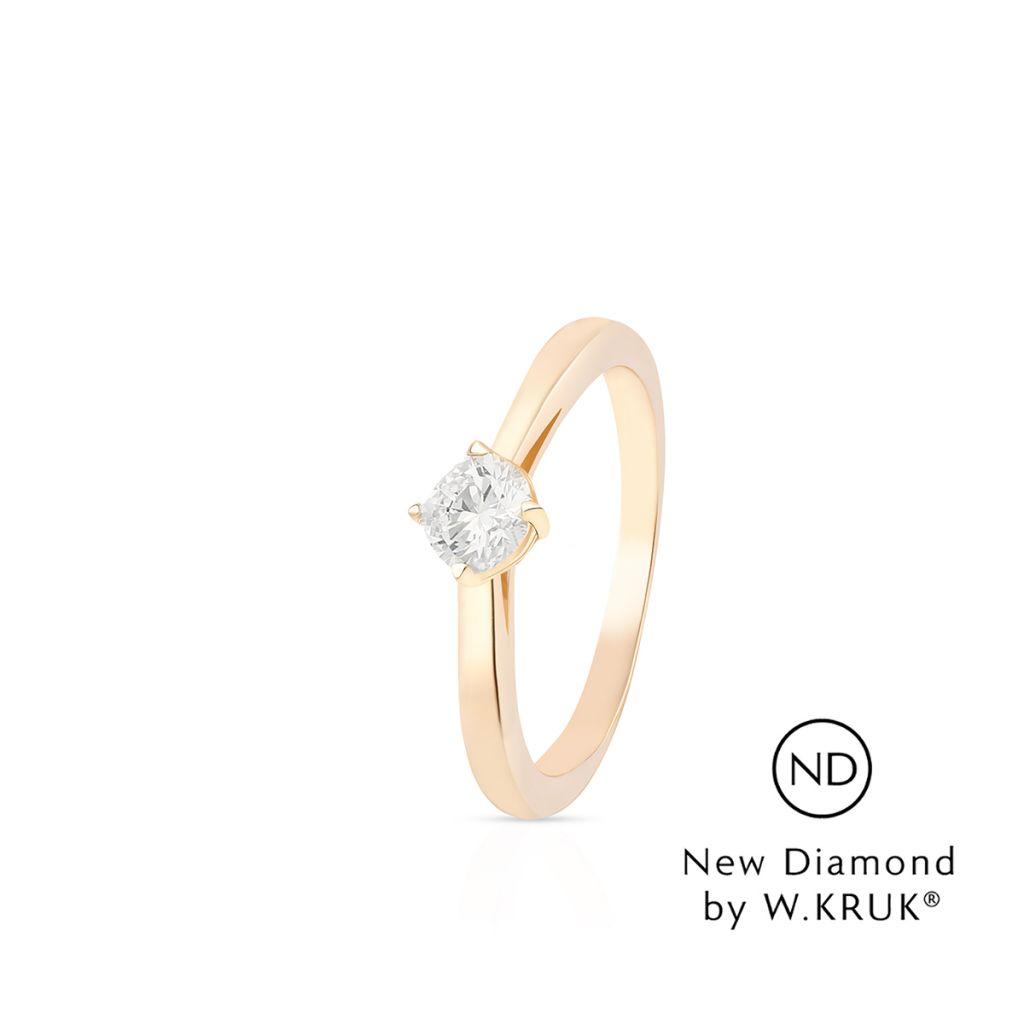 W.KRUK Wyjątkowy Złoty Pierścionek – złoto 585, New diamond by w.kruk 0,30ct – XWK/PB-02