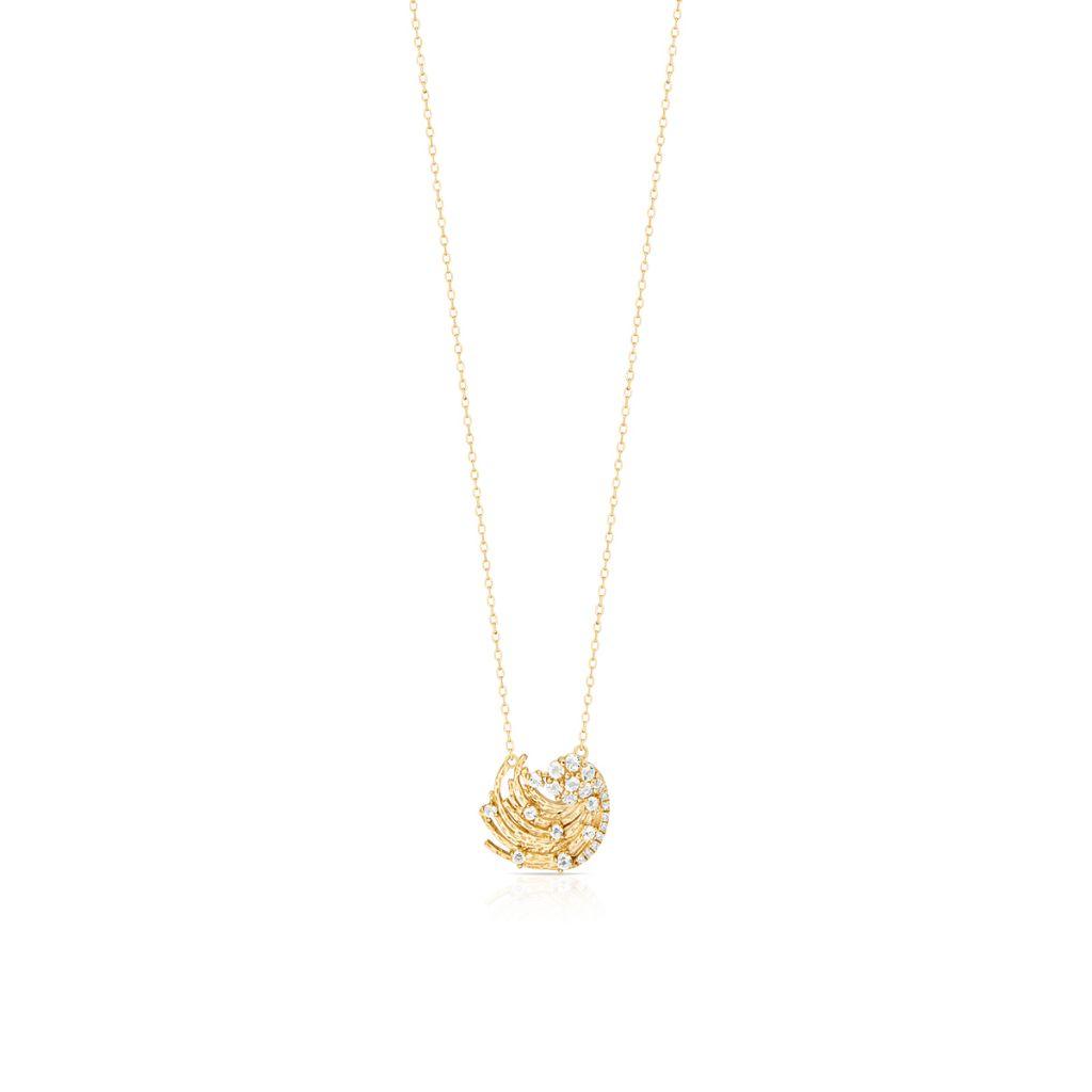 W.KRUK Naszyjnik – złoto 375, Diament 0,02ct,biały topaz – ZDL/NB+42