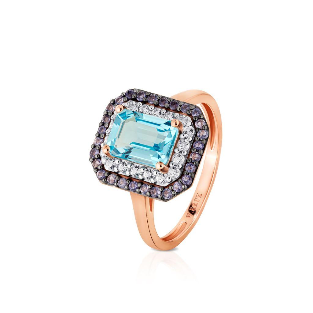 W.KRUK Unikalny Pierścionek Złoty – złoto 585, Topaz swiss blue,iolit…