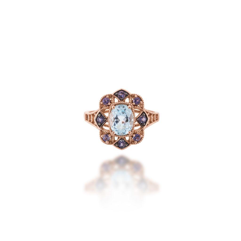 W.KRUK Wspaniały Pierścionek Złoty – złoto 585, Iolit,blue topaz – ZIN/PW31R