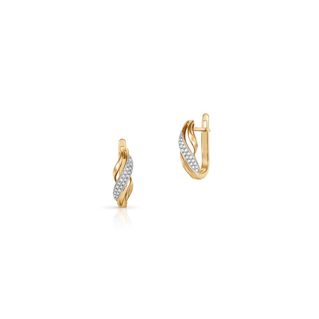 W.KRUK Wspaniałe Złote Kolczyki – złoto 585, Diament 0,10ct – ZFX/KB+19BK