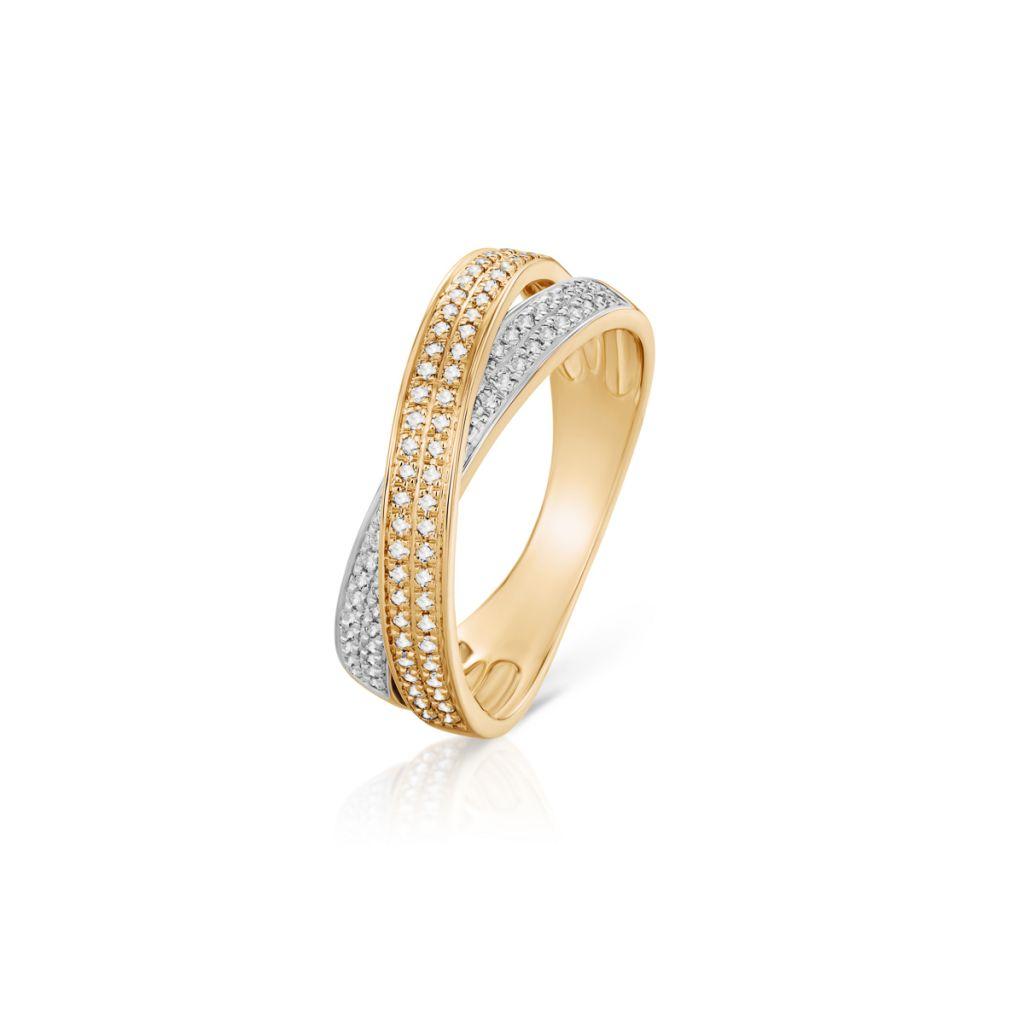 W.KRUK Unikalny Pierścionek Złoty – złoto 585, Diament 0,28ct – ZFX/PB+18BK