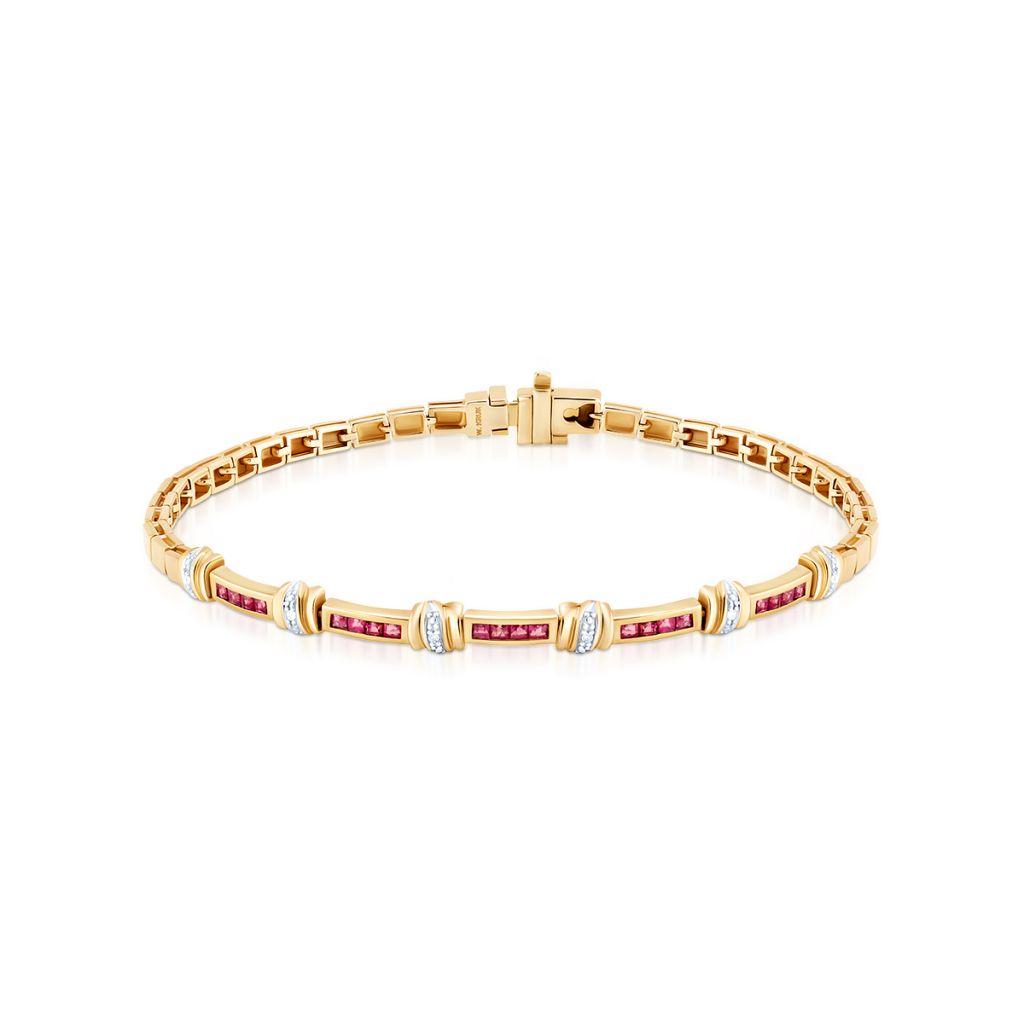 W.KRUK Piękna Bransoletka Złota – złoto 585, Diament 0,03ct,rubin – ZIN/AB+287