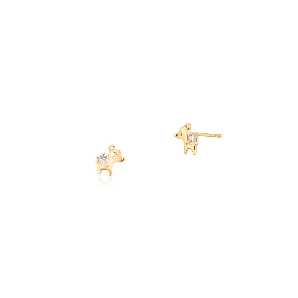 W.KRUK Złote Kolczyki – złoto 375, Cyrkonia – ZIO/KC73