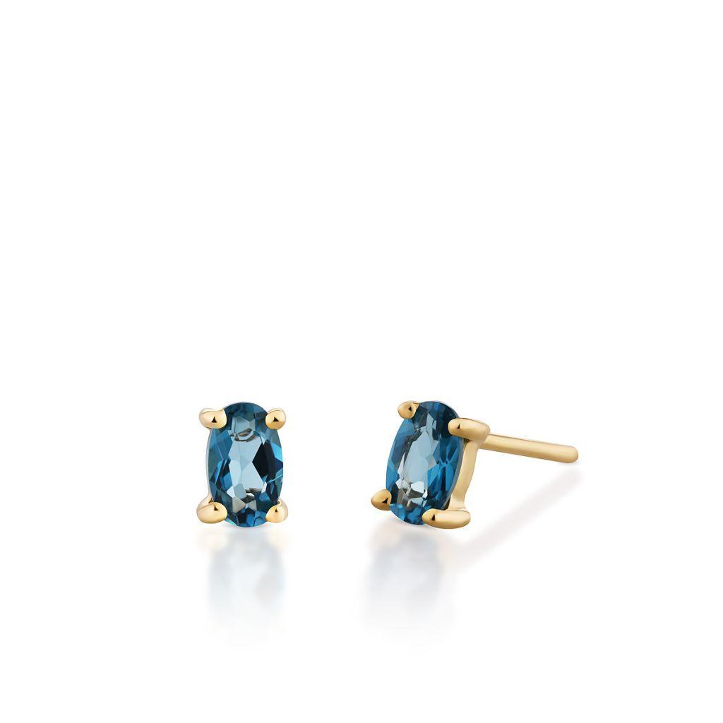 W.KRUK Unikalne Złote Kolczyki – złoto 375, Topaz london blue – ZHH/KT02