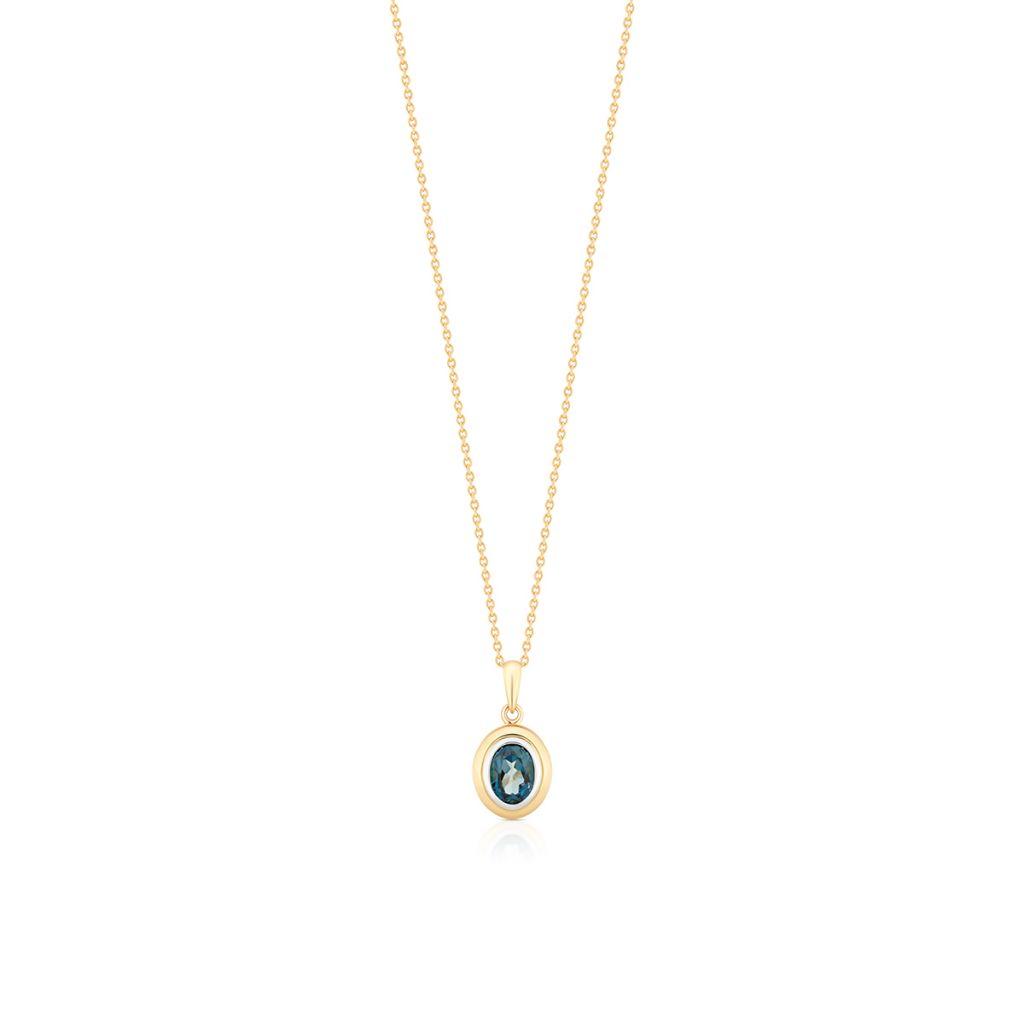 W.KRUK Unikalny Złoty Wisiorek – złoto 585, Topaz london blue – ZHH/WT09BK