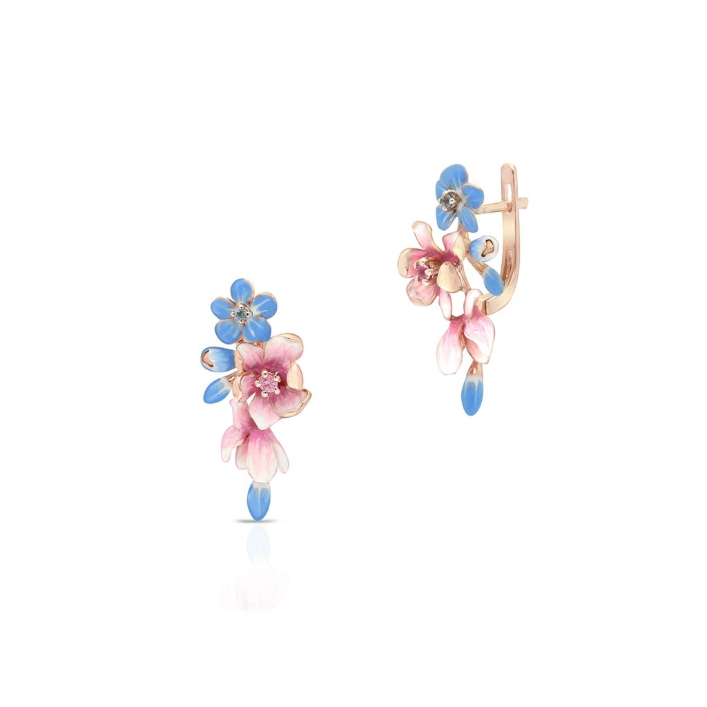 W.KRUK Unikalne Kolczyki Złote – złoto 375, Topaz swiss blue,różowy szafir – ZDL/KW31R