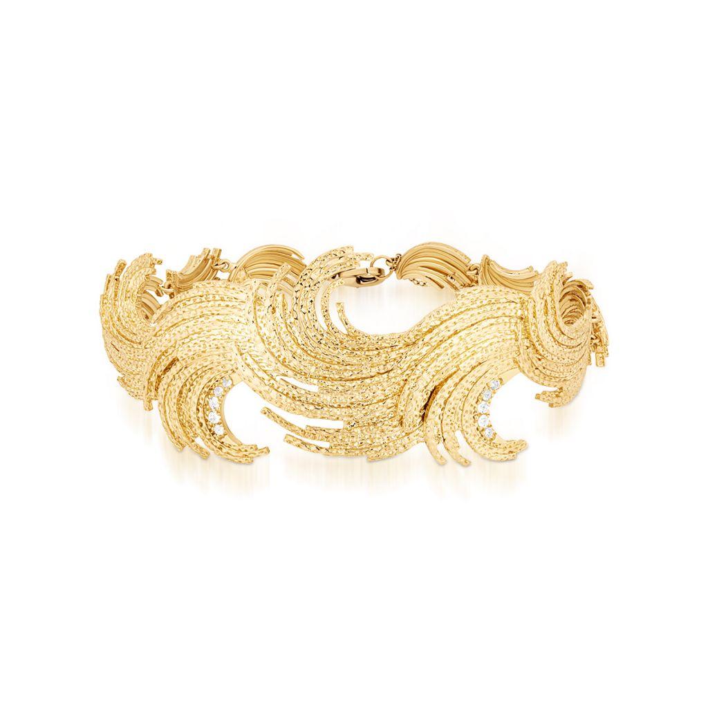 W.KRUK Piękna Złota Bransoletka – złoto 585, Biały topaz – ZDL/AT10
