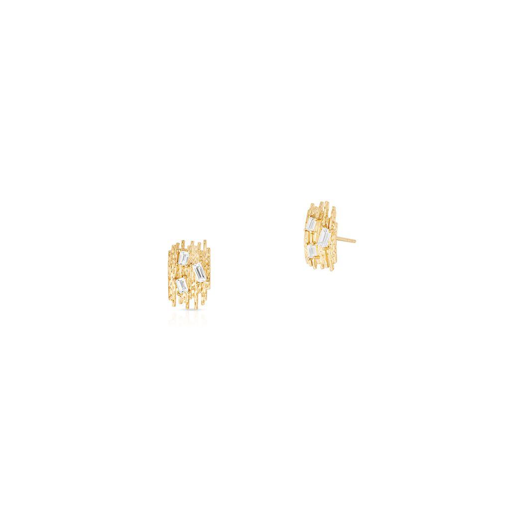 W.KRUK Wspaniałe Kolczyki Złote – złoto 585, Biały topaz – ZDL/KT11